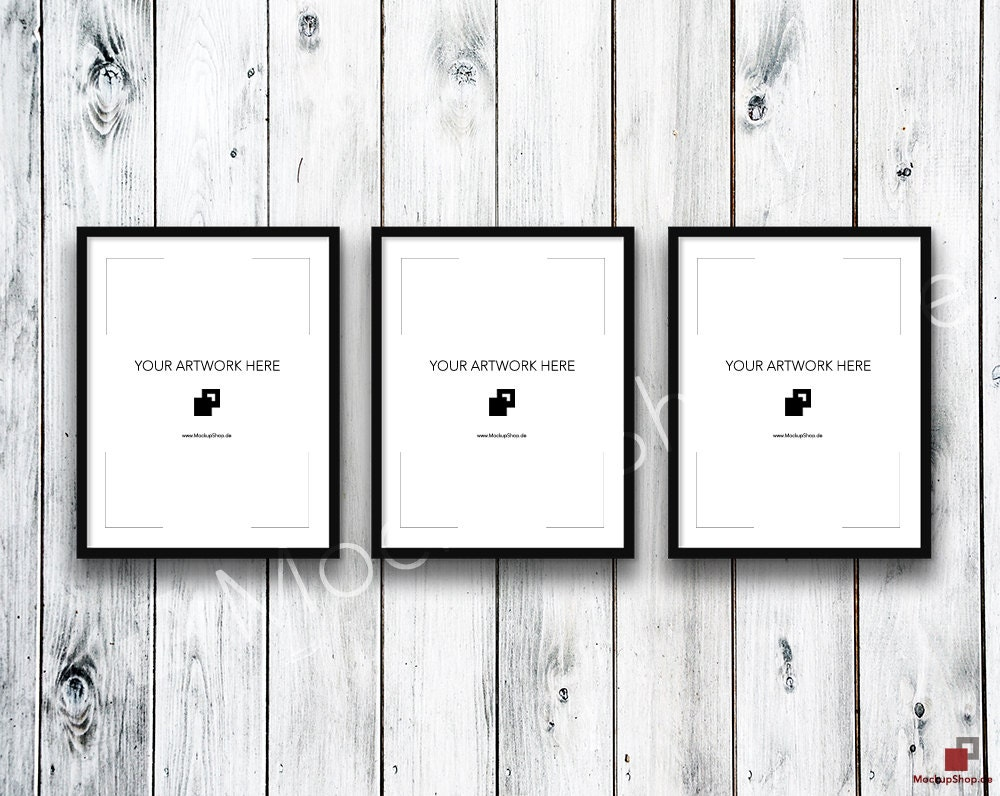 11x14 Set of 3 FRAME MOCKUP BLACK / Styled Photography Poster Mockup ...