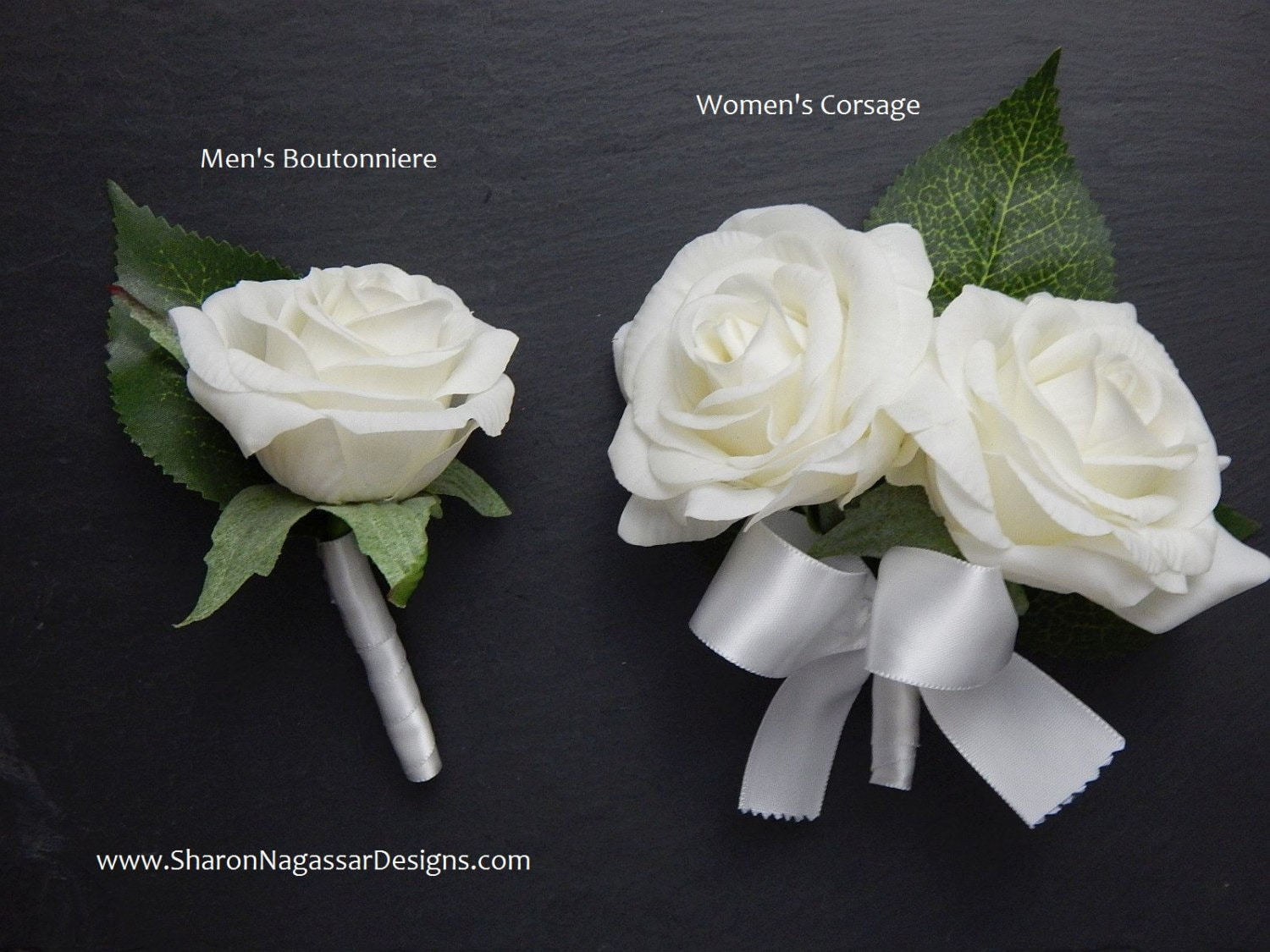 Corsage Or Boutonniere Roseroses White Ivory Real Touch Flowers
