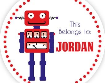Personalized Name Label Stickers - Adorable Red Polka Dots and Blue Robot Name Tag Stickers - 2 inch Round Tags - Back to School Name Labels