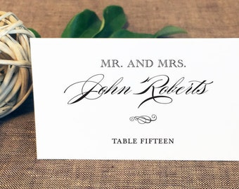Printed Mary Jane Wedding Place Cards, Classic Wedding Place Cards