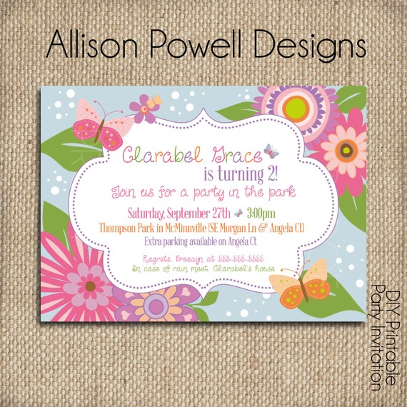 Flowers and butterflies garden party custom printable flowers and butterflies garden party custom printable birthday invitation filmwisefo Images
