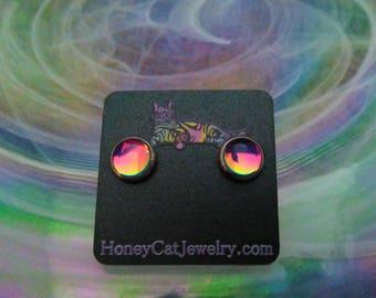 """Glass Opalite Earrings, Magenta Color-Shift Glass Opalite Stainless Steel Stud Earrings 10mm / 0.39"""""""