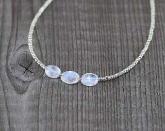 Rainbow Moonstone & Sterling Silver Beaded Layering Necklace. Tiny Seed Bead Choker. Flashy Blue Gemstone Jewelry. Womans Delicate Jewellery