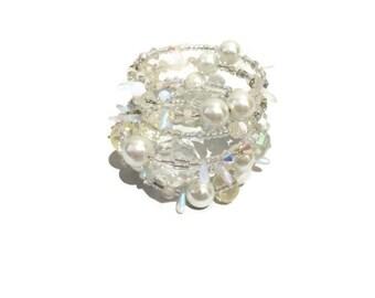 Swarovski crystal pearl bracelet sparkling wraparound layered