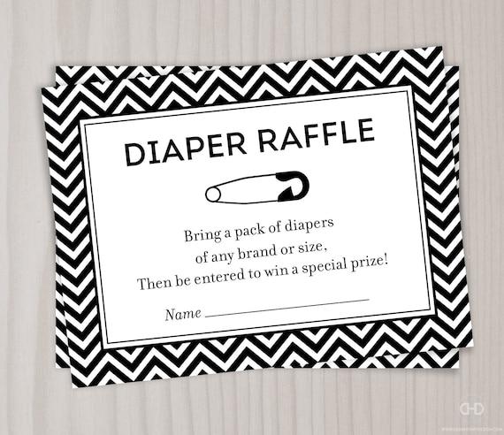 chevron diaper raffle ticket black and white baby shower