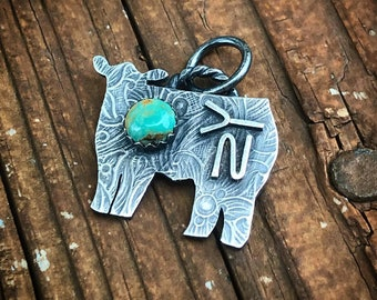 Sterling Silver Livestock Charm // Heifer Charm // Genuine Turquoise // Ranch Brand // Cattle Brand // Sterling Chain Included // Stockshow