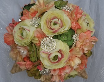 Wedding Brooch Bouquet,  Pink with Succulents