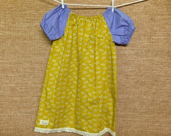 Two tone mustard & lavender peasant dress - size 3-4 years.