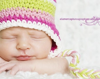 0-3 month pink and green stripe beanie