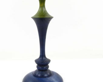 Dyed blue and green wooden candlestick of country. Nature of the country wood: Ash