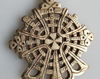 BRASS Ethiopian Coptic Cross, cross pendant, Ethiopian jewelry, African pendant, brass cross, brass pendant