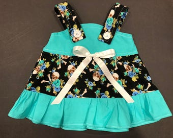 Skull Crossbone & Roses * Red Pink Aqua Turquoise * Rockabilly Baby Infant Toddler Girls Dress  You Pick Size