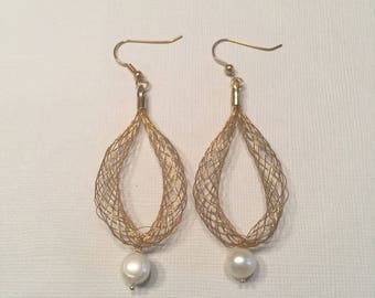 Drop Pearl Earrings with Twisted Gold Wire Dangle Earrings FREE SHIPPING