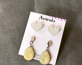 Spring Earring Set : Yellow Heart Druzy