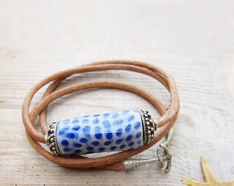 Nautical Leather Bracelet Beach Jewelry Leather, Ceramic and Metal
