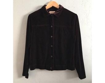90's Brown Velvet Button Up Long Sleeve Blouse