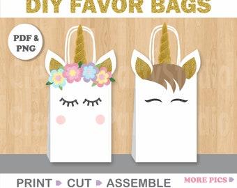 Unicorn FAVOR BAGS/ Unicorn Birthday/ Unicorn Party Supplies/ Unicorn Goodie Bags/ Unicorn Treat Bags/ Unicorn Goody Bags/ Gift/ Candy Bags