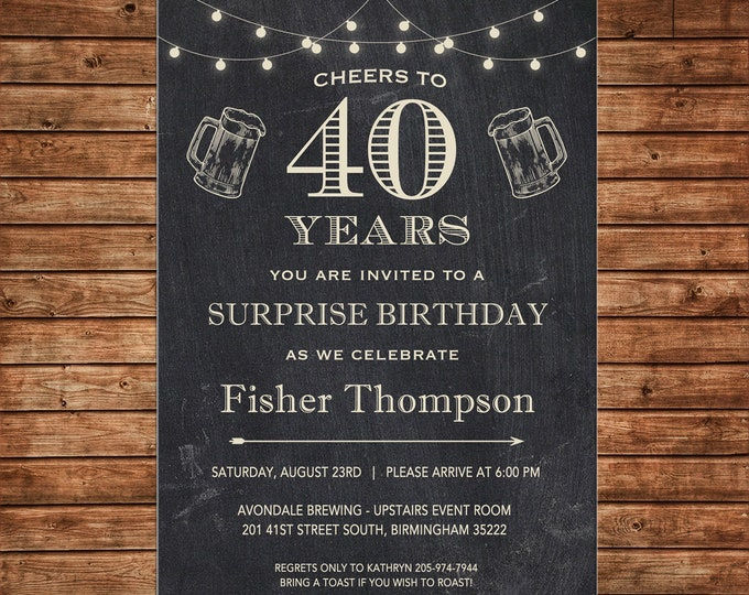 Invitation Chalkboard Cheers Beer Surprise Masculine Birthday Party - Can personalize colors /wording - Printable File or Printed Cards
