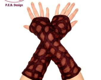 Silk cuffs, gloves, Nuno cuffs, felt cuffs, silk, wool