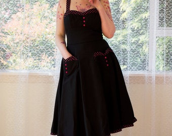 Pin Up 'Stephanie' Sweetheart Neckline Dress with a Full Skirt, Heart Pockets Trimmed with Polka dots - Custom Made to Fit