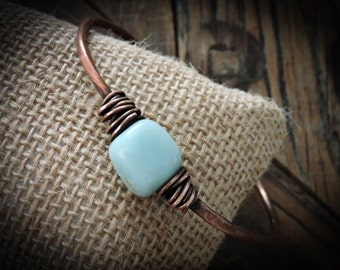 Rustic Copper Bangle Bracelet with Wire Wrapped Turquoise Amazonite Stone - Unique Boho Jewelry Gifts for Her