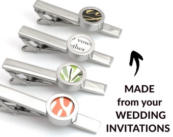 Paper Anniversary Gift for Him   Wedding Invitation Tie Bar   1st Anniversary   First Anniversary   1-Year Anniversary for Husband