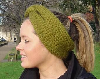 Knitting Pattern for Very Easy Beginner Knit Cinch Headband Earwarmer PDF Instant Download