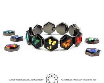 Bright Butterflies Bracelet - Black, Silver or Gold - Interchangeable Artwork