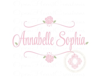 Flower Name Wall Decal for Baby Girl or Teen - Small to Large Size Monogram Vinyl Wall Decal FN0511