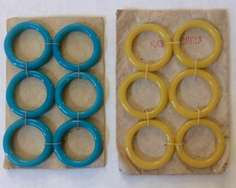 Antique Vintage Peking Glass Rings, Hoops, 2 Sets of 6, Aqua & Pale Yellow