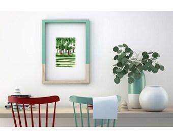 Green watercolor original painting. Green art. Original illustration. Tree art. Original wall art. Nature Art Original Painting.