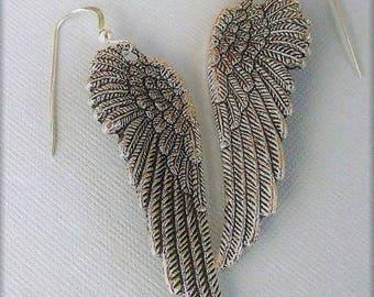 Silver Angel Wing Earrings, Feather Wing Earrings, Angel Wing Jewelry, Large Wing Earrings, Antique Silver Wings,Long Dangling Wing Earring