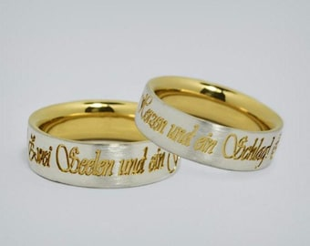 """Partner Rings Silver / Gold """"Two souls"""""""