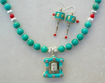 Tibetan Prayer Wheel Pendant & Earrings, Turquoise, Coral and Silver-Plated  Beads, Necklace Set by SandraDesigns