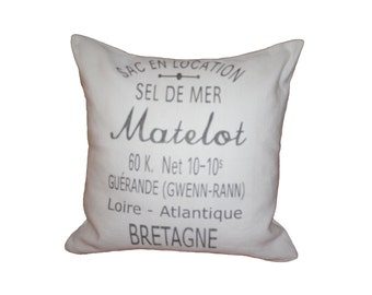 French Country  Vintage Linen Grain Sack Pillow - SEL DE MER