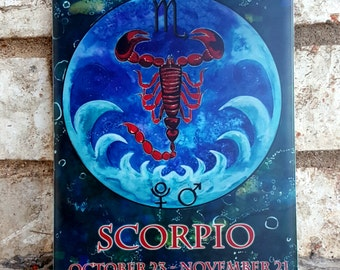 Zodiac Gift for Scorpio - Scorpio Gift - Scorpio Ceramic Tile - Scorpion Art - Pluto - October Gift Ideas - Scorpio The Scorpion