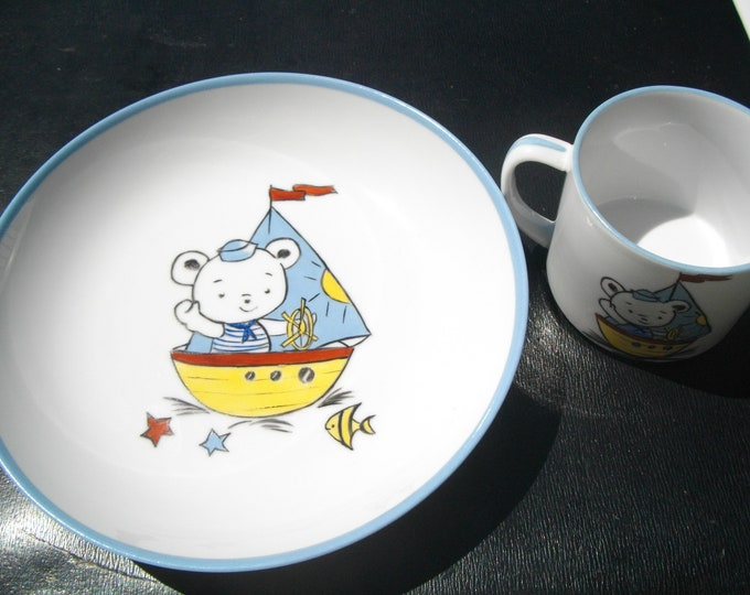 child/plate/Cup set / / porcelain hand painted.