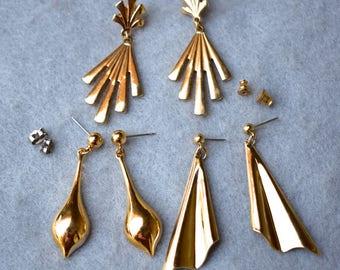 3 Pair Avon Dangle Earring Lot Vintage