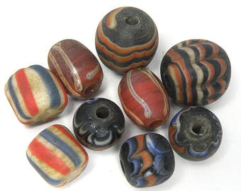 9 Pcs South East Asian Collection Ethnic Colorful Striped Glass Bead BGB40