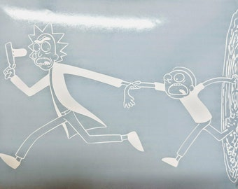 Sale Ends TODAY! Rick and Morty Running With Portal Vinyl Decal for Home or Car