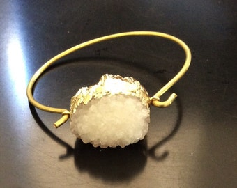 White druzy bangle bracelet