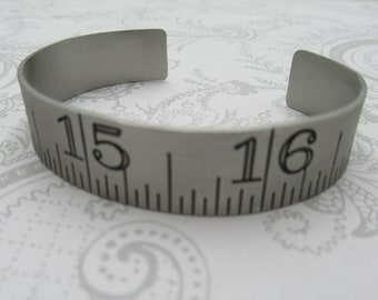Ruler Cuff Bracelet - Silver Bangle Bracelet - Adjustable - Flat - Industrial - Urban Chic - Black Numbers - Qty 1 *NEW ITEM*