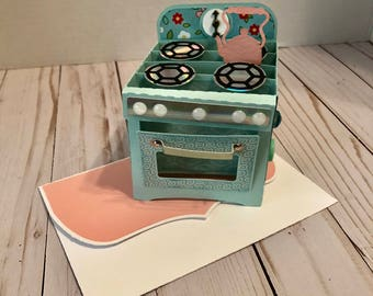 Handmade Mother's Day Box Card - Retro Oven