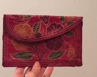 vintage,  leather wallet, red, with flowers, adorable