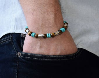 Bracelet Men, Men Beaded Bracelet, Men Bracelet, Men Energy Bracelet, Tiger Eye Bracelet, Turquoise Bracelet, Boho bracelet, Gift For Men