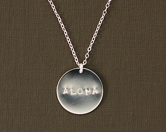 Sterling Silver Large Disc Personalized Necklace - Name Necklace - Aloha Necklace in Sterling Silver