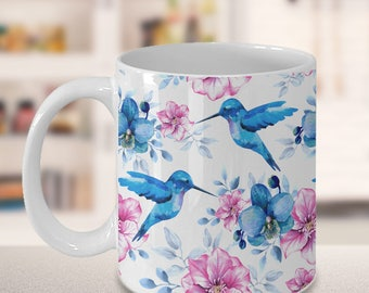 Gift for Grandma, Beautiful Hummingbird Mug With Pink Flowers, Gift for Mom, Grandmother, Aunt, Sister or Friend Gift  black or white