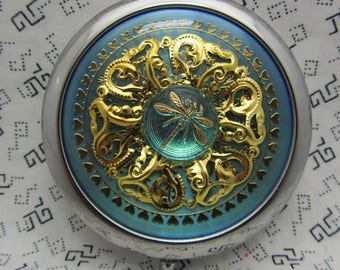 Dragonfly Compact Mirror On Blue Comes With Protective Pouch Included Gift For Her