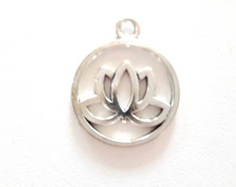 1 antique silver lotus flower pendant charm