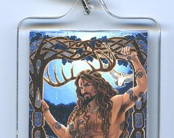 Cernunnos Herne Moon Goddess Wild Hunt Key Chain